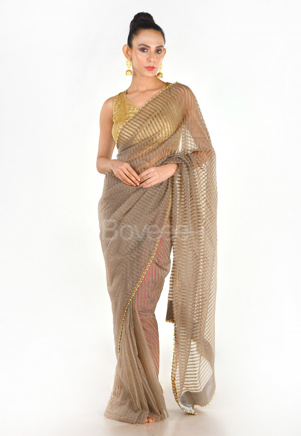 GREY COLOUR BLENDED ORGANZA SAREE WITH BEEDED LACE BORDER