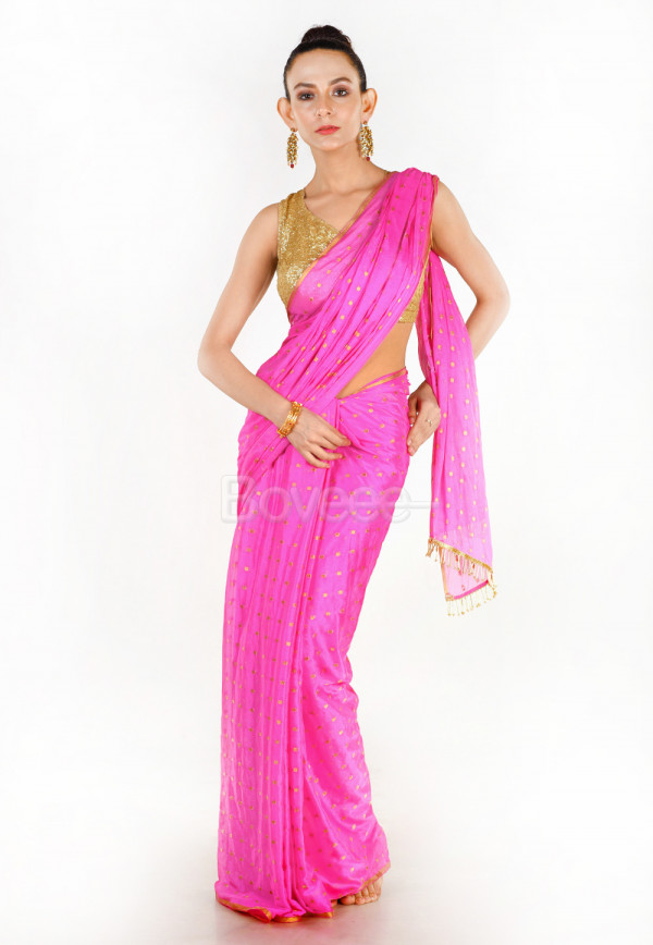 PINK COLOUR BLENDED CHIFFON SAREE WITH GOLDEN FRINGE LACE PALLU