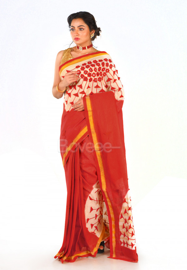 WHITE CHANDERI COTTON WITH RED 3D APPLIQUE WORK