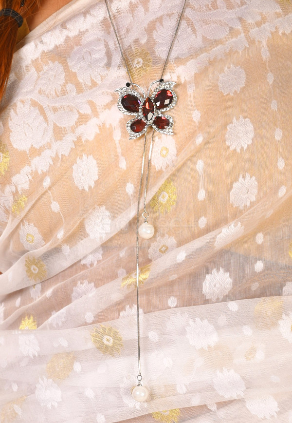 BUTTERFLY CRYSTAL PENDENT TIE STYLE ADJUSTABLE  NECKLACE