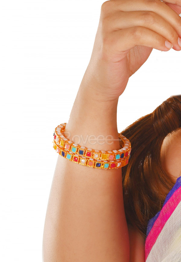 MULTI COLOR STONE WITH GOLD BANGLES