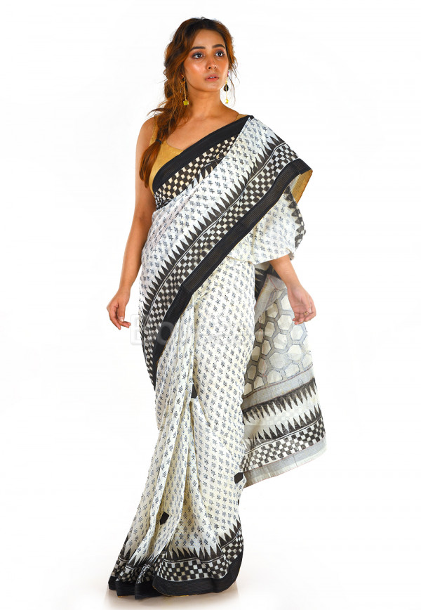 WHITE CHANDERI COTTON WITH BLACK PATCH WORK WITH SCREEN PRINT
