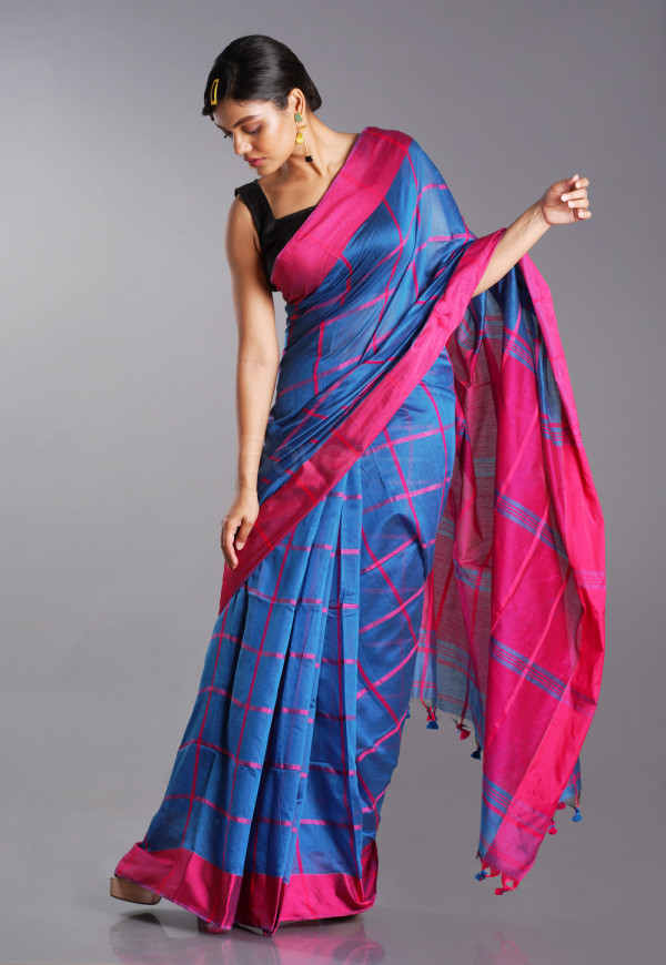 BLUE BLENDED COTTON SAREE WITH PINK CHECKS AND PALLU