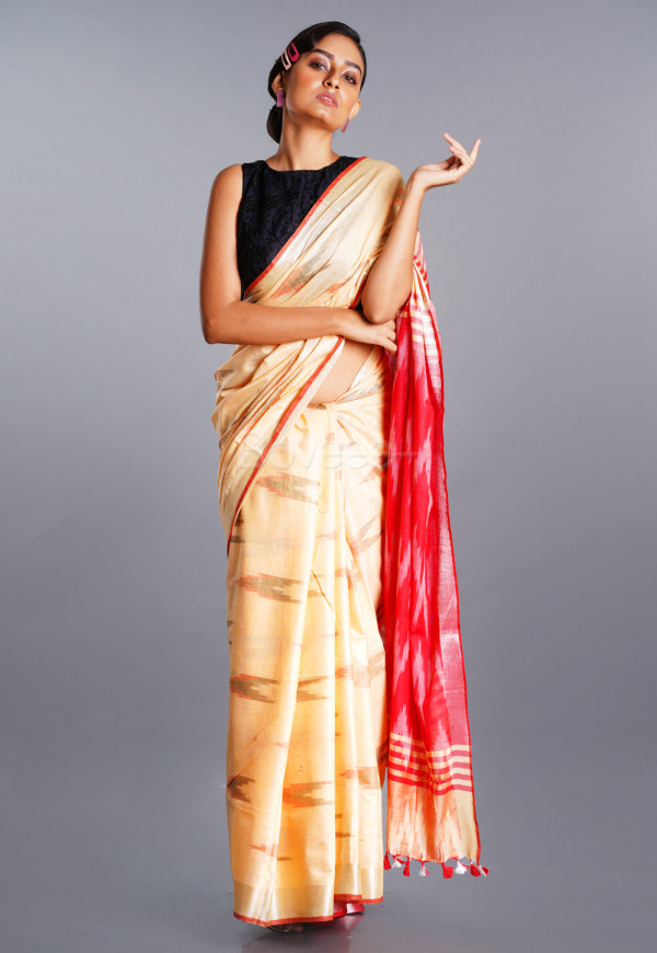 BUTTER MILK BEIGE  IKKAT SAREE WITH RED BORDER AND PALLU