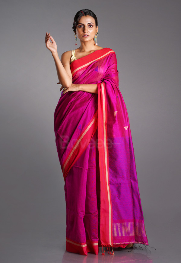 MAGENTA BLENDED COTTON SAREE WITH BLUE MOTIFS