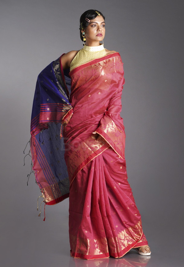 RED BLENDED COTTON SAREE WITH BLUE PALLU AND GOLDEN MOTIFS