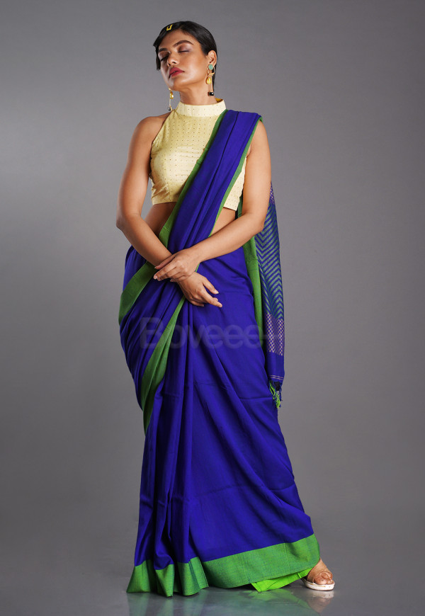ROYAL BLUE BLENDED COTTON SAREE WITH GREEN BORDER
