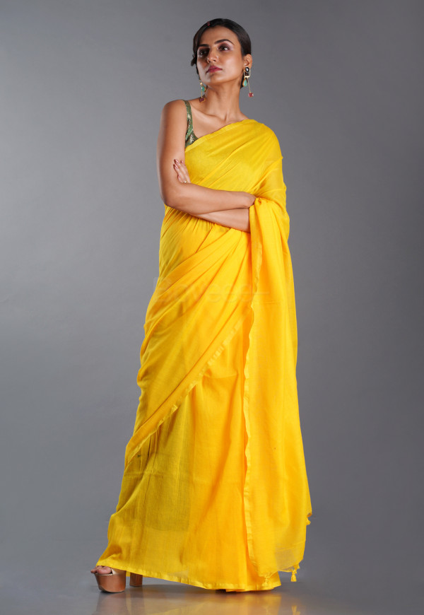 YELLOW BLENDED COTTON SAREE