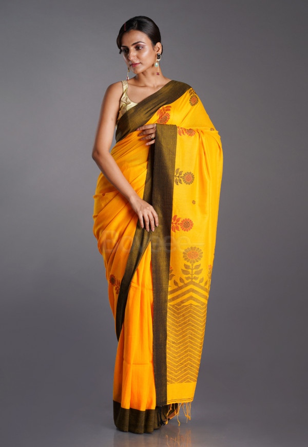 YELLOW COTTON HANDLOOM SAREE WITH FLORAL MOTIFS