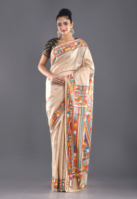 BEIGE TUSSER SILK KANTHA SAREE WITH MULTI COLOR THREAD EMBROIDERY