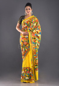 YELLOW BANGALORE SILK KANTHA SAREE WITH FLORAL THREAD EMBROIDERY