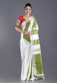 OFFWHITE & GREEN STRIPED BLENDED COTTON SAREE