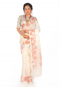 OFF WHITE MUSLIN SAREE, MULTI  COLOR  FLORAL WOVEN MOTIFS.