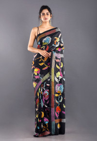 BLACK BANGALORE SILK KANTHA SAREE WITH MULTI COLOR THREAD EMBROIDERY
