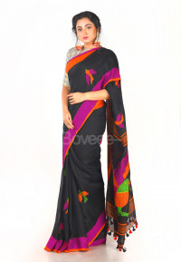 BLACK LINEN SAREE WITH MULTI COLOR THREAD EMBROIDERY WORK