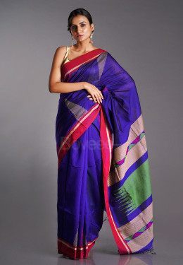 BLUE BLENDED COTTON SAREE WITH GREEN AND BEIGE GEOMETRIC MOTIFS