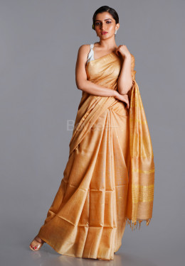 GOLD LINEN BLENDED SILK SAREE WITH GOLDEN BORDER AND PALLU