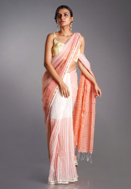 OFFWHITE AND ORANGE BLENDED COTTON SAREE WITH GOLDEN STRIPS
