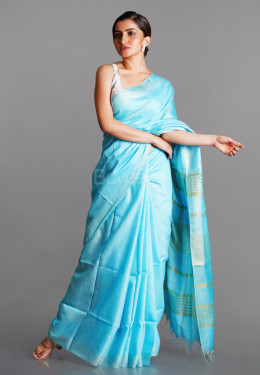 SKY BLUE LINEN BLENDED SILK SAREE WITH GOLDEN BORDER AND PALLU